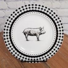 Gingham Pig Plate Black &white