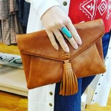 Brown Tassle Flap Purse Vegan Leather clutch or crossbody