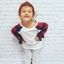 Kids Red and Black Buffalo Check Plaid Baseball Tunic