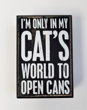 Cat's World To Open Box Sign