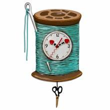 Spool Clock with hanging scissors Pendulum