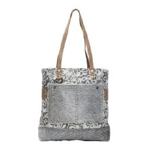 Cowhide Pockets and Canvas Tote Bag
