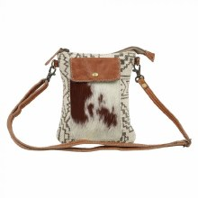 Cowhide And Print Crossbody