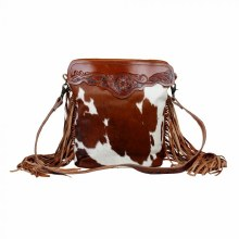 Beautiful brown leather hand tooled cowhide bag with large leather strap