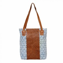 Blue Carpet Cotton Tote with Embelished Leather