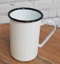 White Enamel Cafe Mug