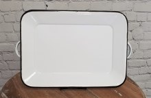 White Distressed Enamel Tray