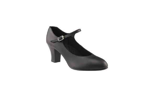 "Capezio 2"" Student Footlight Leather 650 BLK 5"