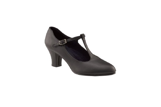 "Capezio 2"" Jr. Footlight T-Strap 750 BLK 5.5"