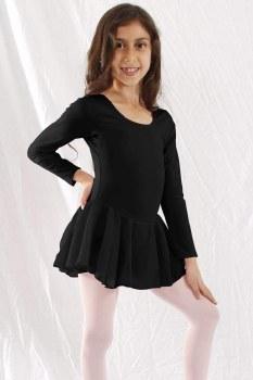 Basic Moves Girls' Long Sleeve Dress 9079GU 2-4 BLK