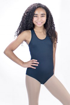 Basic Moves Tank Leotard with Criss Cross Back T5916 2-4 BLK