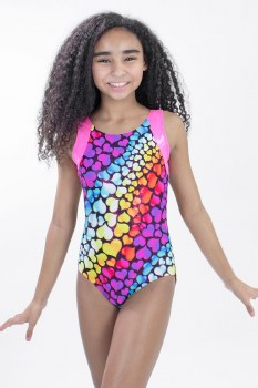 Basic Moves Heart Patterned Gymnastics Tank Leotard GY5863MH 2-4 000