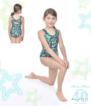 Basic Moves Tank Star Pattern Leotard GY5897GS 2-4 GREEN