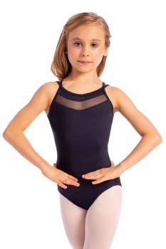 So Danca Child Camisole Leotard with Mesh Top and Elastic Back L1711ME 8-10 BLK