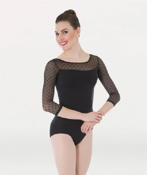Body Wrappers 3/4 Sleeve Leotard P1042 TALL BLK