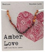 Children's Necklace Baltic Amber - Rainbow Love 33cm