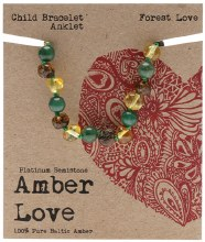 Children's Bracelet/Anklet Baltic Amber - Forest Love 14cm