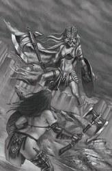 Mars Attacks Red Sonja #5 Cover F 1:11 Incentive Luca Strati Black & White Virgin Cover