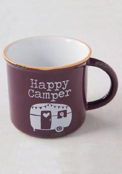 Happy Camper Eggplant Camp Mug
