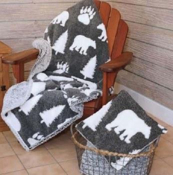 Bear Melange Ultra Plush Sherpa Blanket