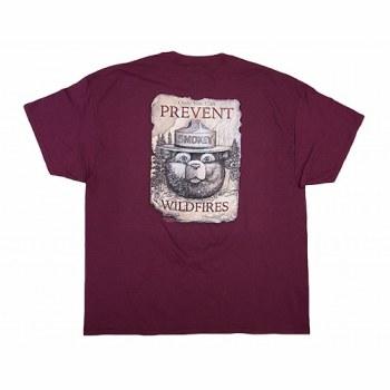 Smokey Bear on a Scroll Tee - Maroon
