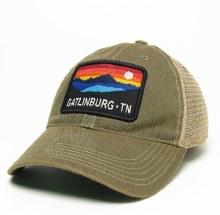 Black Old Favorite Trucker Hat Colorful Mountain Box - Gatlinburg Tn