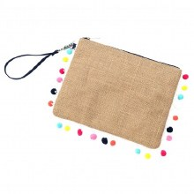 MONOGRAM ME Multi-Colored Pom-Pom Clutch