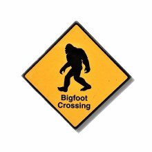 Bigfoot Crossing Metal Sign Magnet