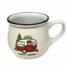 Happy Camper Mug w/ Black Rim