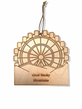 Smoky Mountain Ferris Wheel Wood Christmas Ornament