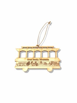 Great Smoky Mountains Trolley Wood Christmas Ornament
