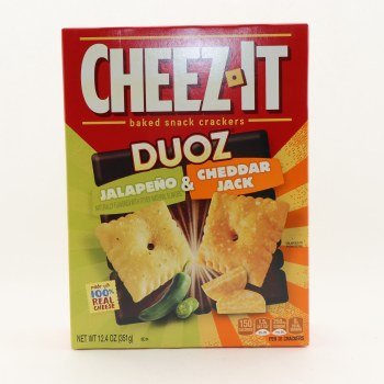 Cheez It Duoz Baked Snack Crackers, Jalapeño & Cheddar Jack Flavors, Made With 100% Real Cheese 12.4 oz