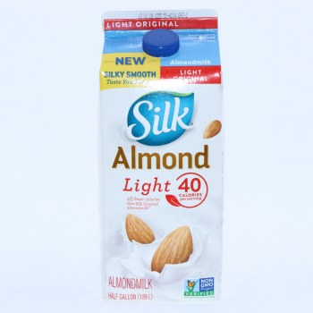 Silk, Almond Original Light Milk, Non GMO, Dairy & Lactose Free, Gluten Free, Soy Free, Carrageenan Free, No Saturated Fat, Cholesterol Free, No Artificial Colors or Flavors 64 oz