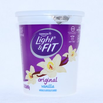 Dannon Light  and  Fit Original Vanilla Yogurt Non Fat Calcium  and  Vitamin D for Strong Bones No Artificial Colors Gluten Free 32oz rBSTFree 32 oz