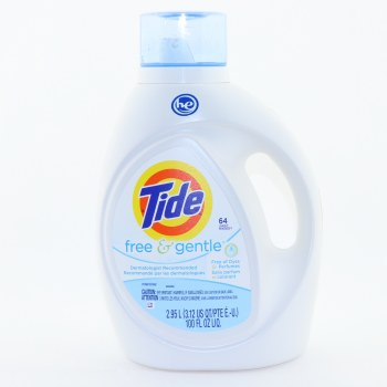 Tide HE Free  and  Gentle Detergent Free of Dyes Perfumes 64 Loads