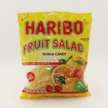 Haribo Fruit Salad Gummi Candy, Fat Free, Natural And Artificial Fruit Flavors 5 oz