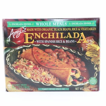 Amy's Enchilada with Spanish Rice & Beans, made with Organic Black Beans, Rice & Vegetables, Dairy Free, Gluten Free, No GMOs 10 oz