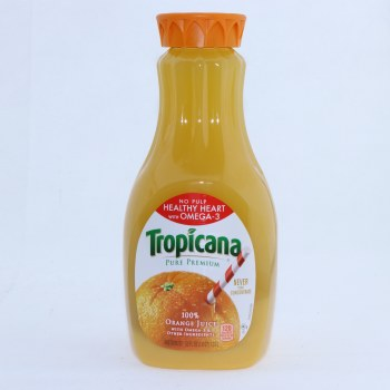 Tropicana 100Per Cent Orange Juice No Pulp Healthy Heart with Omega 3 52 fl oz  52 oz