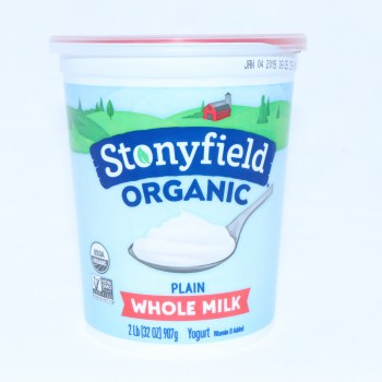 Stonyfield Organic Plain Yogurt Whole Milk Non GMO Gluten Free 32 oz