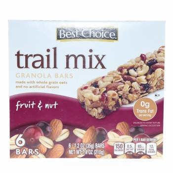 Best Choice Trail Mix Granola Bars With Fruit Nut Made Whole Oats And No Artificial Flavors 7 4 Oz