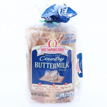 Brownberry Country Buttermilk Bread. No High Fructose Corn Syrup, No Artificial Colors or Flavors and 0g Trans Fat  24 oz