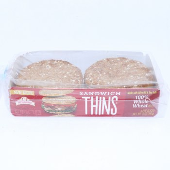Brownberry 100Per Cent Whole Wheat Sandwich Thin Rolls  12 oz