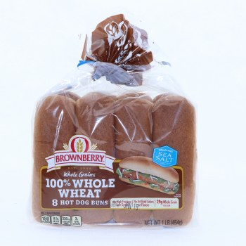 Brownberry 100Per Cent Whole Wheat Hot Dog Buns  8 buns