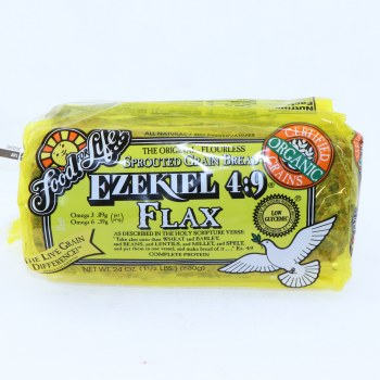 Food for Life Ezekiel 49 Flax Bread No Preservatives Low Glycemic 24 oz 24 oz