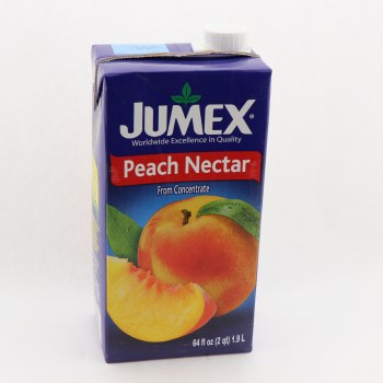 Jumex Peach Nectar From Concentrate Naturally Free of Saturated Fat Trans Fat Free Cholesterol Free Pasteurized Product