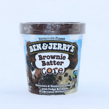 Ben & Jerrys Ice Cream. Brownie Batter Core. Chocolate & Vanilla Ice Creams with FUdge Brownies & Brownie Batter Core. Non GMO.