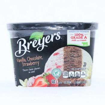 Bryers Ice Cream. Vanilla Chocolate Strawberry. Gluten Free, Non GMO.  48 oz
