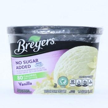 Bryers Ice Cream. Vanilla, No Sugar Added, 80 Calories Per Serving. Sweetened with Splenda. Gluten Free.  1.5 qt