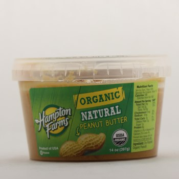 Hampton Farms Organic Natural Peanut Butter, USDA Organic  14 oz