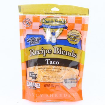 Dutch Farms Recipe Blends Taco, A Blend of Colby & Monterey Jack Cheeses with Taco Seasoning, Gluten Free, 8 oz 8 oz